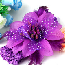 Purple Baby Child Toddler Princess Feather Flower Crochet Headband Headwrap MA