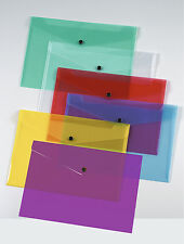 4 x A4 PLASTIC DOCUMENT WALLETS FOLDERS  ASSORTED COLOURS POPPERS