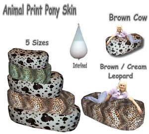 Animal Print / Faux Fur Pony Skin Bean Bags Beds Settee Interlined & Filled