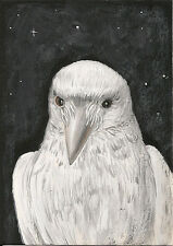 ACEO PRINT OF PAINTING RAVEN WHITE CROW HALLOWEEN FOLK ART WHIMSICAL WICCA GOTH