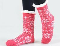 Womens Sherpa Socks Snowflakes Fleece Lined Thick Cozy Non Skid Slipper Sock