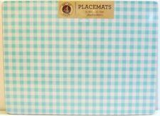 Set / 4 Benson Mills Cork Placemats Gingham Check Turquoise White Rectangular