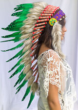 Long Feather Headdress- Native American Indian Inspired -ADJUSTABLE- Green Duck