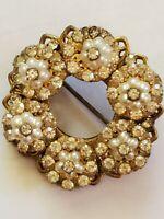 Miriam Haskell Signed Vintage Seed Pearl Rhinestone Goldtone Filigree Brooch