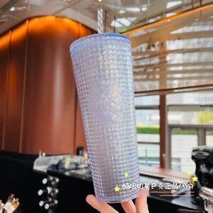 New Starbucks 2021 China Silver Glitter Grid Disco Ball 24oz Cold Cup Tumbler