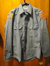 Fire Dept Greenville South Carolina Wrangler Uniform L/SLV Shirt 15- 34 Blue