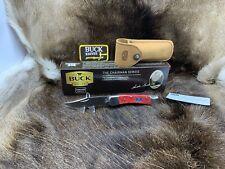 Buck 110 Chairman Lockback Hunter Knife With Leather Sheath - Mint In Box
