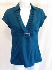 Express Blue Top Plunge Shirt Women XS Pleated V Stretch Blouse Buckle Jr Teal