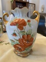 Vintage antique? Hand Painted Vase W Gold Painted Accents Signed