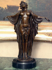 Classic Vintage Nude Woman Female Dancer Bronze Marble Statue Sculpture Figurine