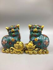 A pair EXQUISITE Chinese Old Cloisonne hand-built lucky pig statue YR