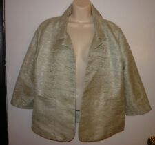 New Tulle Green Open Front Jacket Blazer Size L 3/4 Sleeve Shimmery