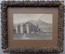 Castel Nuovo Originale Early 19TH C Napolitain École Peinture Vésuve fumant