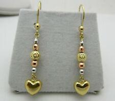 Dangle 14k Multi-Tone Gold Heart Beads Earrings 2.3 grams