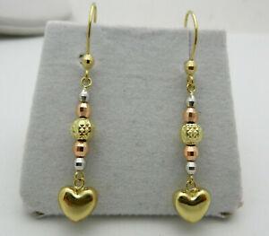 Dangle 14k Multi-Tone Gold Heart Beads Drop  Earrings 2.3 grams