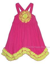 New Girls Boutique Sam & Sydney sz 5 Fuchsia Lime Rosette Dress Summer Clothes