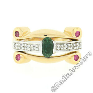 14K TT Gold .92ct Oval Sapphire Solitaire Diamond Ruby Sideways Scroll Band Ring