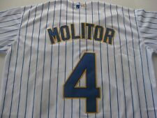 PAUL MOLITOR MILWAUKEE BREWERS  SEWN JERSEY SIZE LARGE  NWT