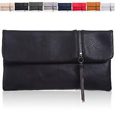Women Medium Foldable Faux Leather Clutch Bag Bridal Designer Ladies Evening UK