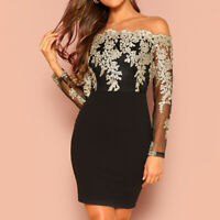 Women's Sexy Lace Mini Dress Bodycon Off Shoulder Evening Party Cocktail Dresses