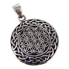 Flower Of Life Sacred Geometry Circular Celtic Knotwork Sterling Silver Pendant