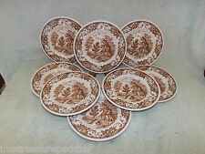 Franciscan Royal Tudor Ware Brown Olde England 8 Bread Butter Plates 6 3/4""
