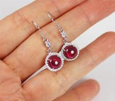 Pretty Red Ruby Solid 925 Sterling Silver Dangle / Drop Earrings + BOX,   526