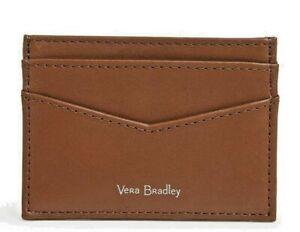 Vera Bradley Carryall Classic Mocha Leather RFID Slim card case NWT free ship