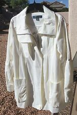 Millard Fillmore High Thread COTTON White Cream Fully Lined Zip-Up JACKET Coat M