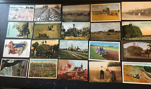 Lot Of 20 Farming Tractor Farm Themed Postcards Wagons Combine