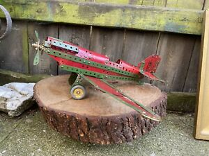 VINTAGE 20th century MECCANO MODEL AEROPLANE scratch built green red 1940/50s
