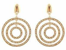 Zest Golden Geometric Circle Pierced Earrings with Swarovski Crystals Amber