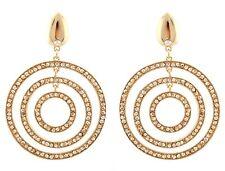 Zest GOLDEN cerchio geometrico perforate Orecchini con cristalli swarovski ambra