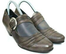 Pikolinos Women's Gray Leather Mary Jane Buckle Block Heel Sz EU 39, US 8 - 8.5