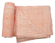 Indian Cotton Winter Quilt Ethnic Reversible Coverlet Hand Block Print Blanket