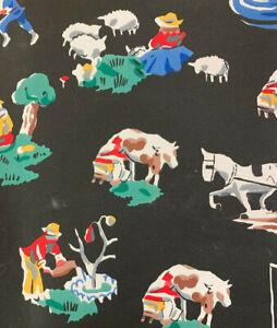 Vintage Wallpaper of a Farm Scene Black by Motif