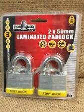 Fort Knox 2 PCE 50mm Laminated Keyed Alike Padlocks Same Key Lifetime