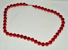 "Vintage Translucent Cherry Amber Red BAKELITE Round Bead 28"" Necklace 106 Grams"