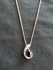 Women's Sterling Silver And Approximately  .06 Diamonds  Slider Pendant Necklace