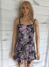 Diane Von Furstenberg Silk Dress Size 10UK Lilac & Black Floral Ruffles Short