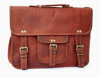 Men's Distressed Handmade Leather Vintage Laptop Briefcase Bag Satchel Messenger