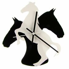 Euphyllia-TEMPUS Cavallo Tema Orologio da parete 25cm BIANCO/NERO (e 9533 WHTB)