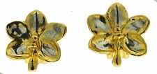 Real Ascocenda Orchid Gold and Palladium Clip Earrings