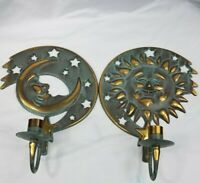 Vintage Partylite Sun Moon Wall Candle Holders Sconce Rustic Green Patina 1994
