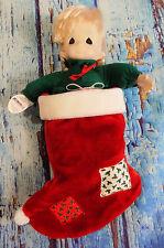1995 Precious Moments Vtg Qvc Nikki Christmas Stocking Plastic Collectible Doll