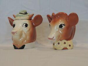 1950's DAIRY BORDEN'S ELSIE THE COW CREAMER &  ELMER SUGAR BOWL