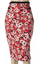 CUE Size 12 Red Floral High-Waist Fitted Midi Pencil SKIRT Scuba Fabric