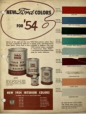 1954 FORD Paint Color Chip Chart Sample, NOS GENUINE FORD FACTORY COLORS