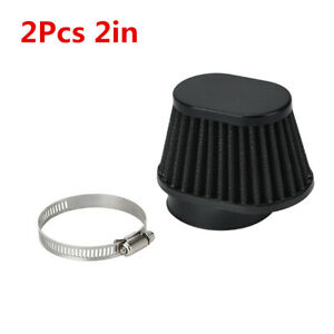 2in/51mm 2Pcs Cold Air Intake High Flow Cone Filter Metal Kits Black Fit For Car