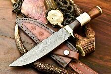 Rare!!! Custom Handmade Damascus Steel Blade Hunting Bowie Knife   Walnut Wood
